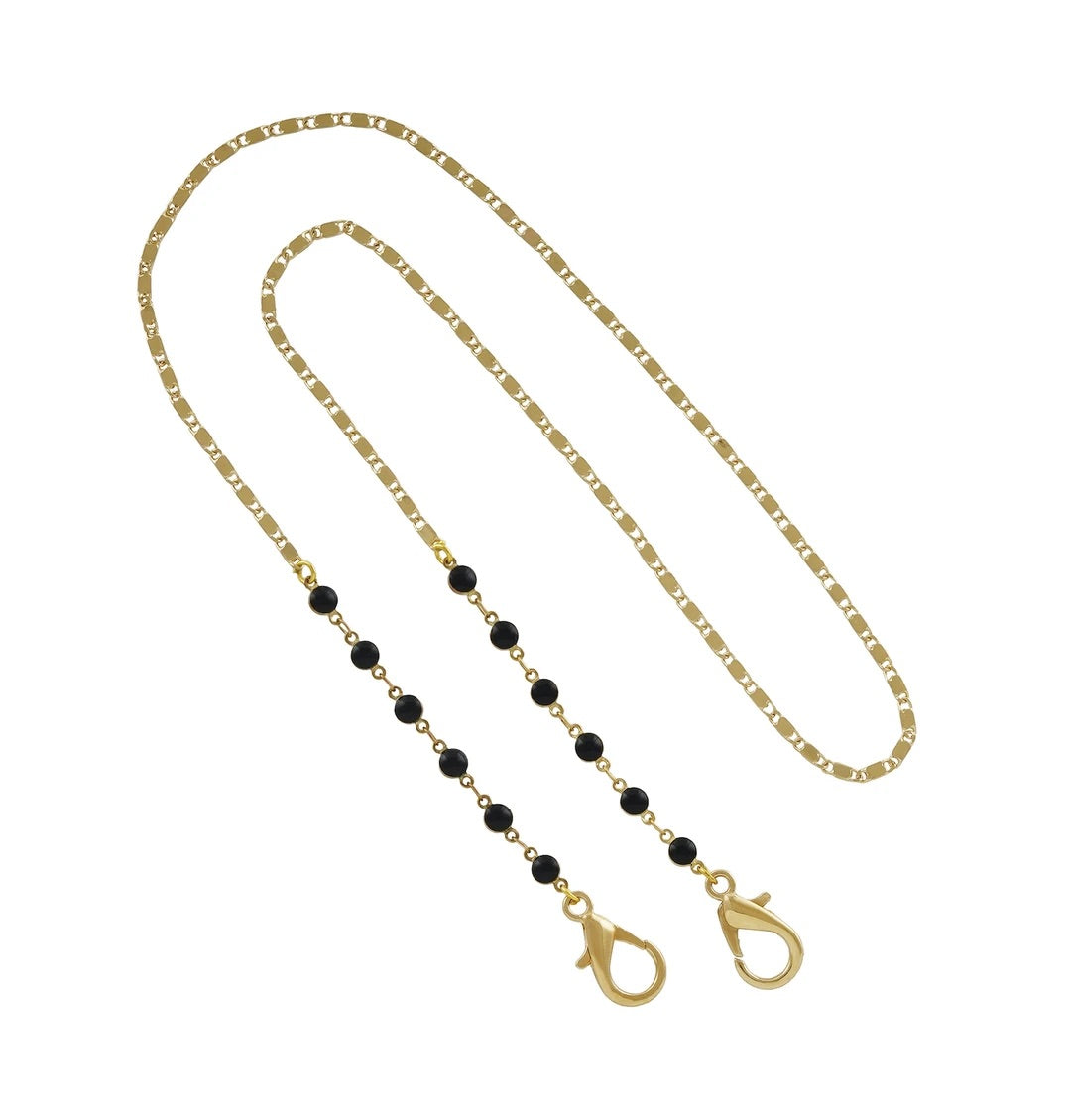 Gold Chain with Black Beads (Large)