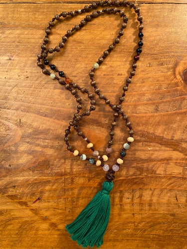 Sodalite Mala with Green Tassel
