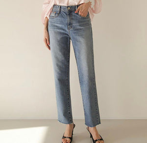 High Waisted Raw Hem Jeans