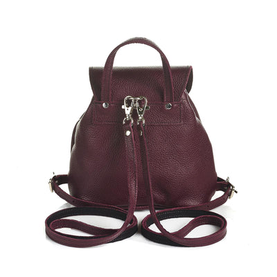 Marsala Red Leather Backpack