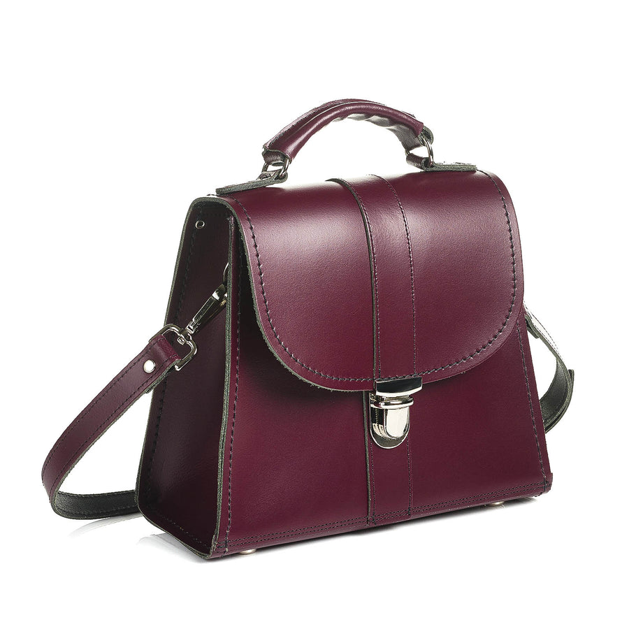 Marsala Red Leather Cross Body Bag