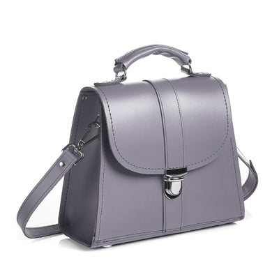Lilac Grey Leather Cross Body Bag