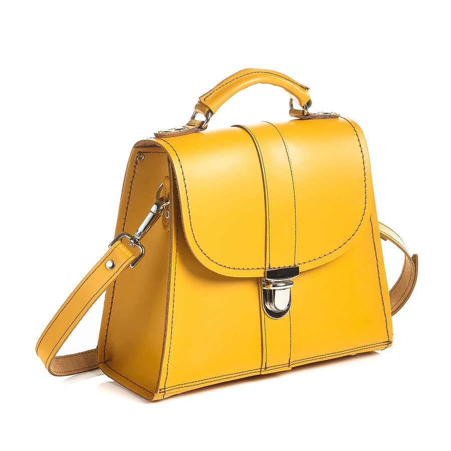 Yellow Ochre Leather Cross Body Bag
