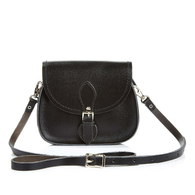 Black Leather Micro Saddle - Micro Saddle - Zatchels