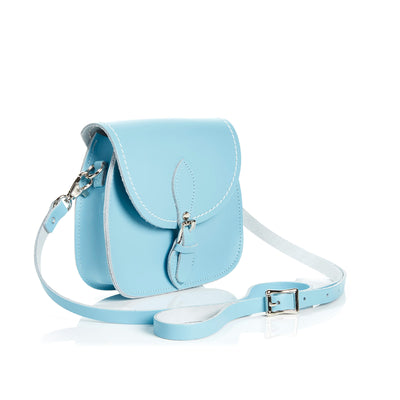 Pastel Baby Blue Leather Micro Saddle