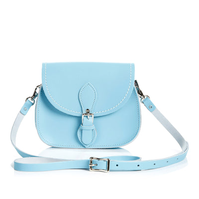 Pastel Baby Blue Leather Micro Saddle - Micro Saddle - Zatchels