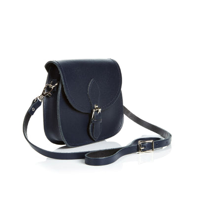 Navy Leather Micro Saddle