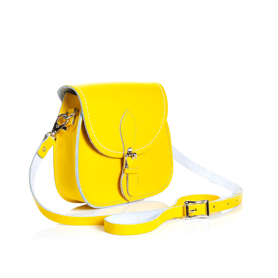 Pastel Daffodil Yellow Leather Micro Saddle
