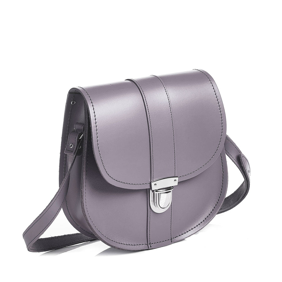 Lilac Grey Leather Saddle Bag