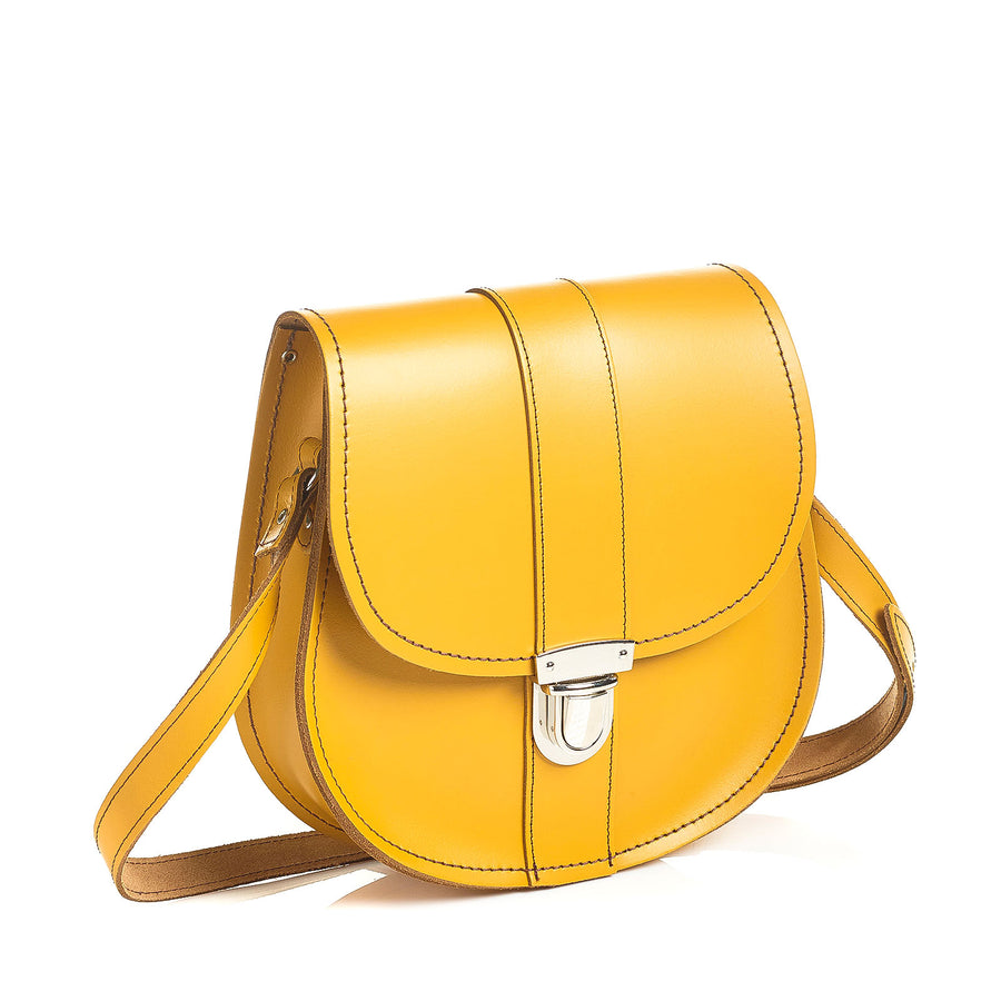 Yellow Ochre Leather Saddle Bag