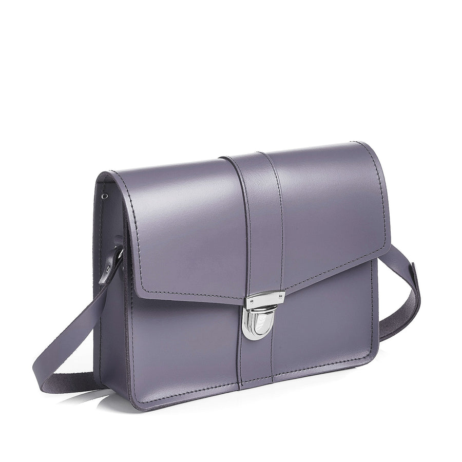 Lilac Grey Leather Shoulder Bag