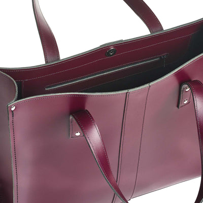 Marsala Red Leather Shopper