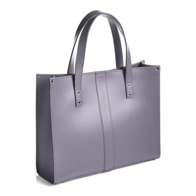Lilac Grey Leather Shopper