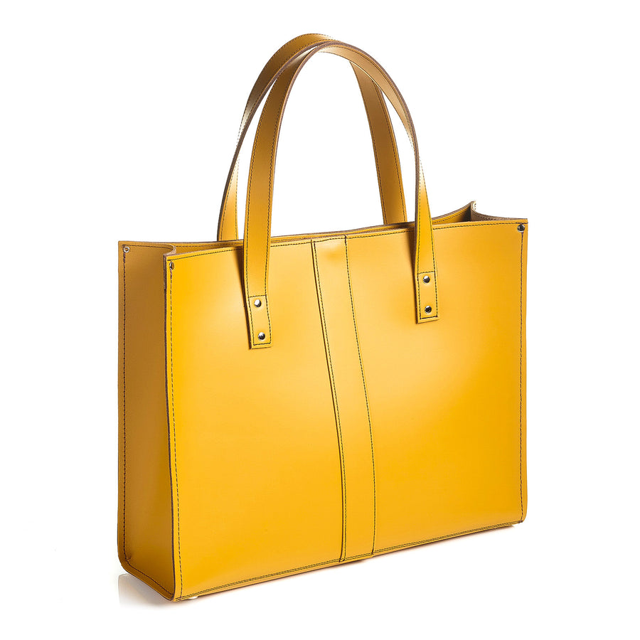 Yellow Ochre Leather Shopper
