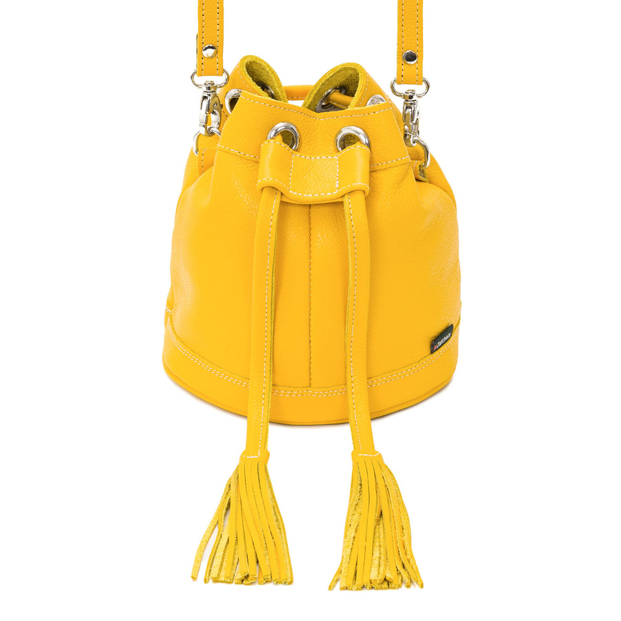 Aspen Yellow Leather Bucket Bag - Bucket Bag - Zatchels
