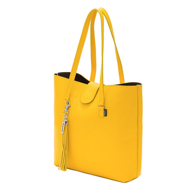 Aspen Yellow Leather Tote Bag - Tote - Zatchels
