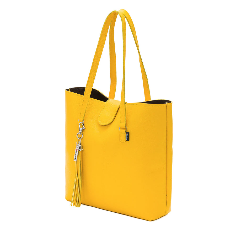 Aspen Yellow Leather Tote Bag