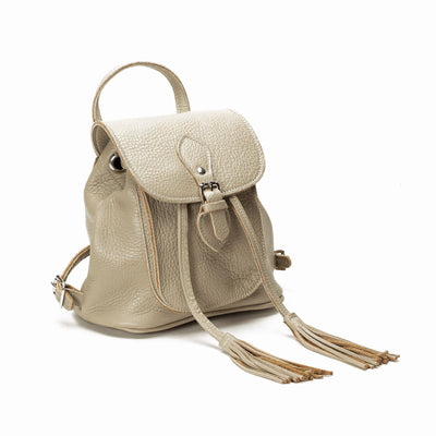 Taupe Leather Backpack - Zatchels.com