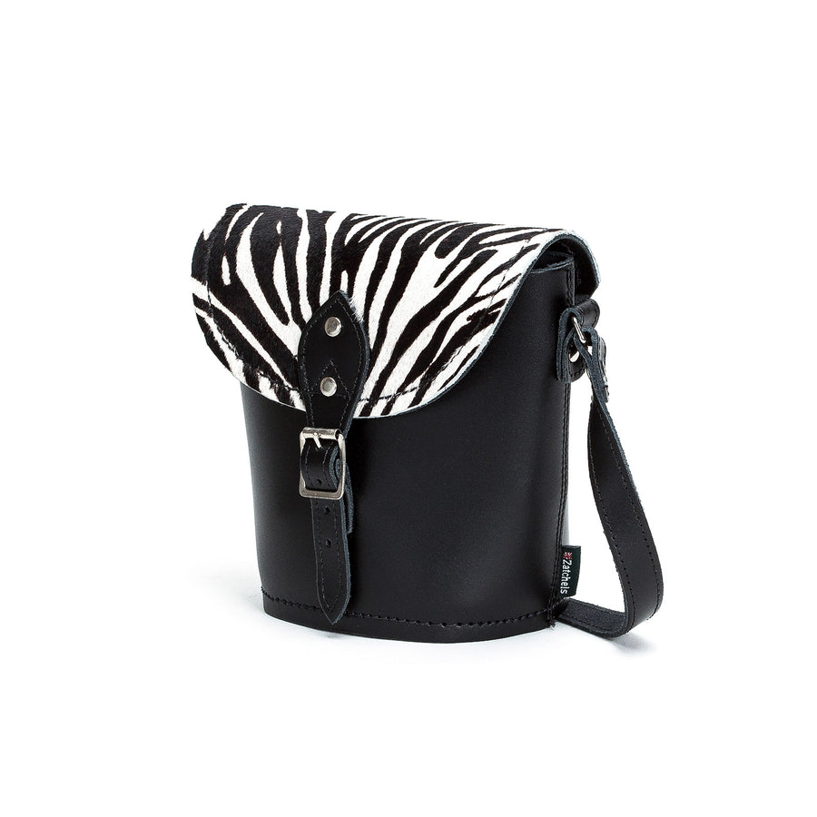 Zebra Leather Barrel Bag