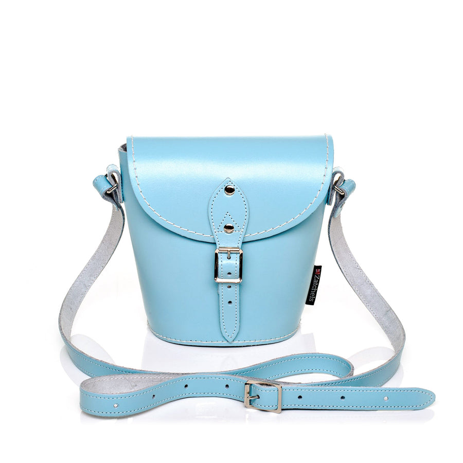 Pastel Baby Blue Leather Barrel Bag