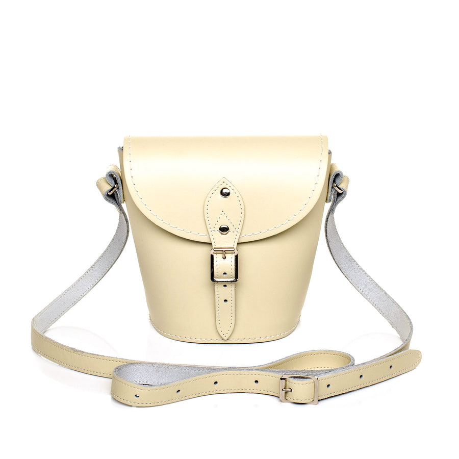 Pastel Cream Leather Barrel Bag