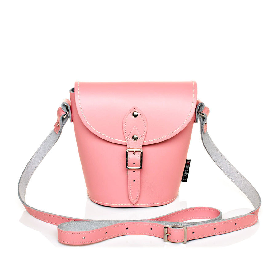 Pastel Pink Leather Barrel Bag - Barrel Bag - Zatchels