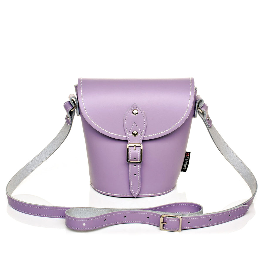 Pastel Violet Leather Barrel Bag
