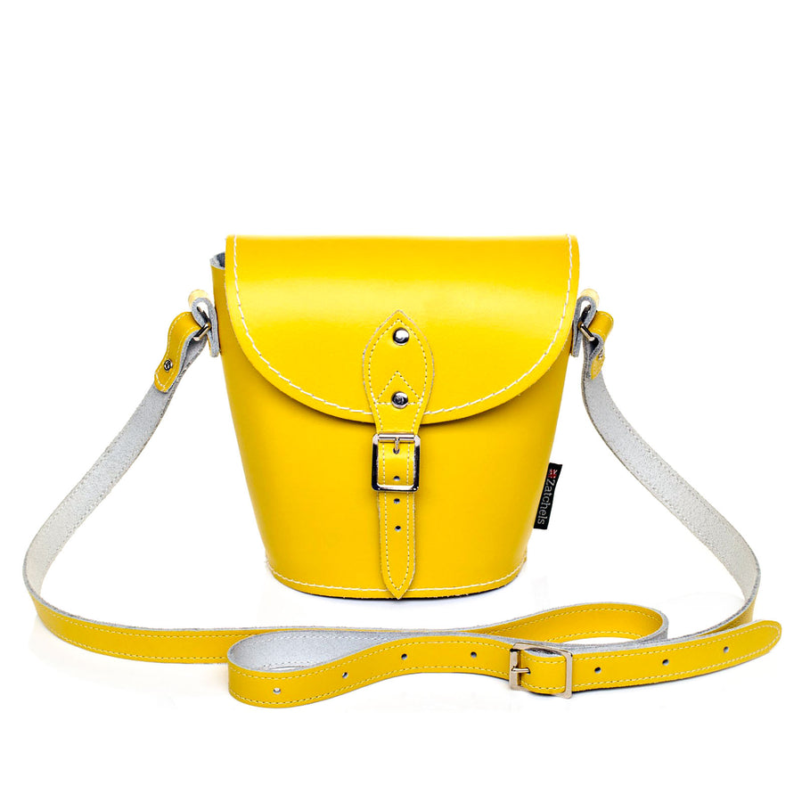 Pastel Daffodil Yellow Leather Barrel Bag