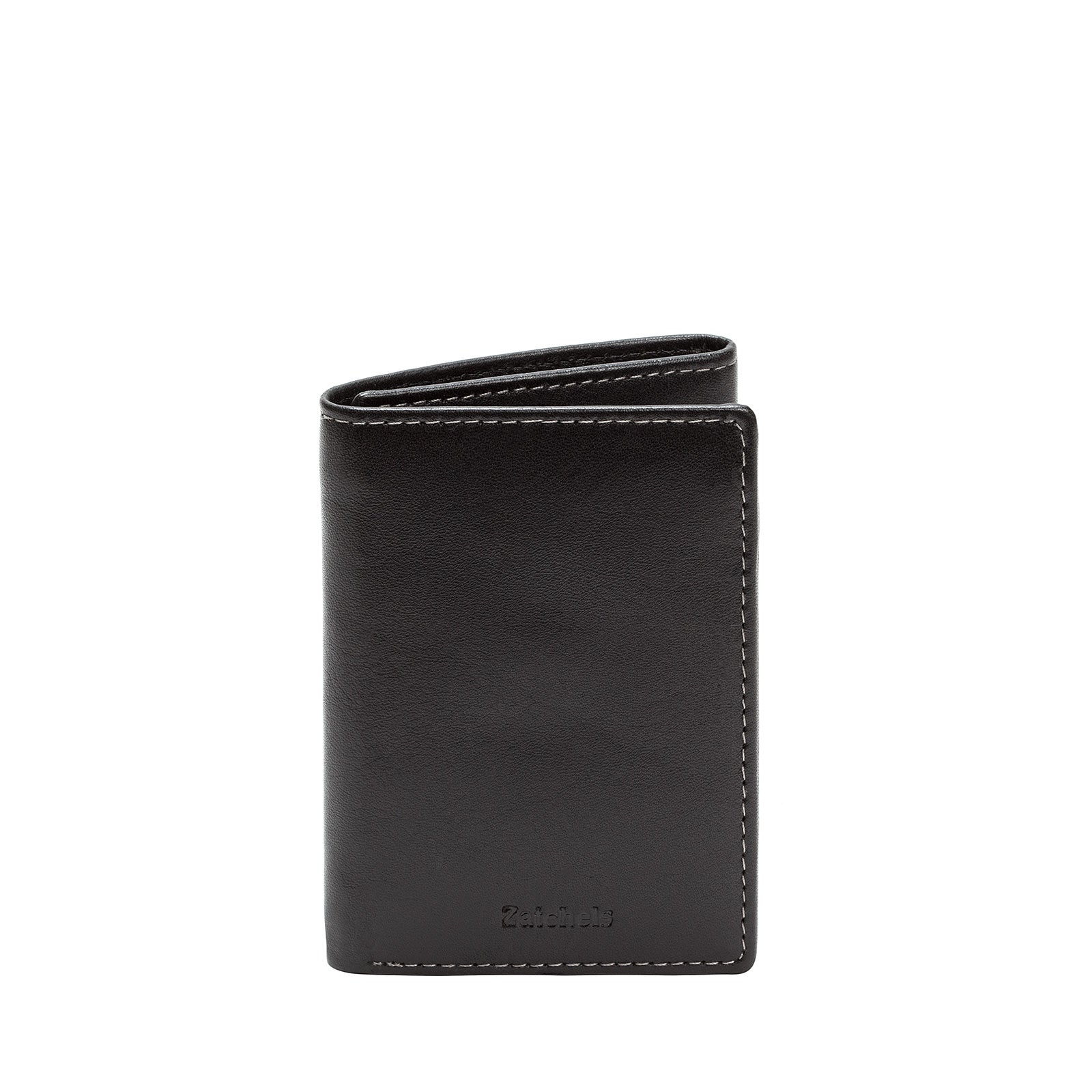 df8162e3 Black Leather Trifold Wallet