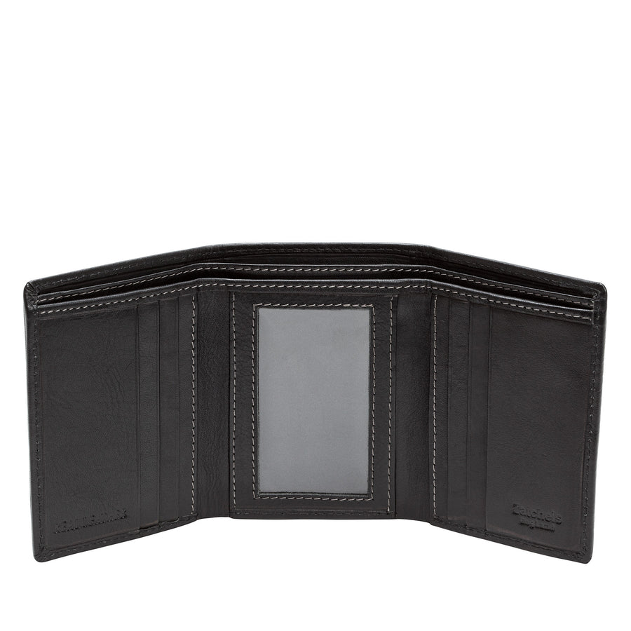 Black Leather Trifold Wallet - Accessories - Zatchels