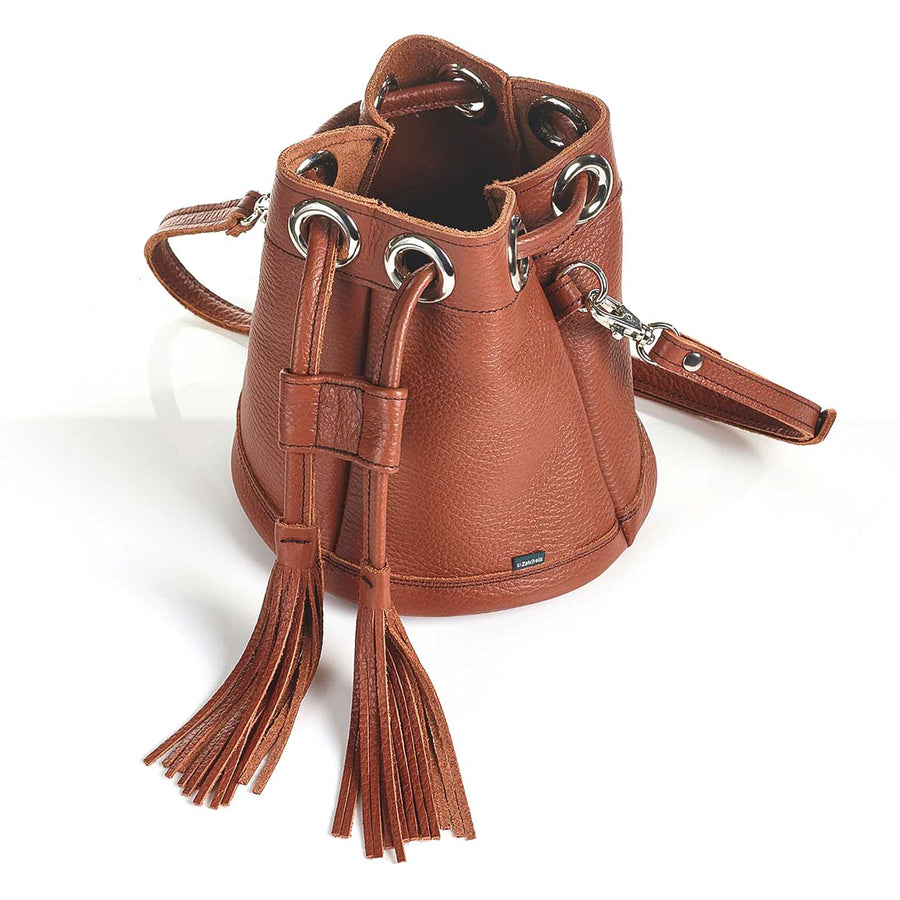 Russet Brown Leather Bucket Bag