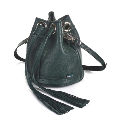 Ivy Green Leather Bucket Bag