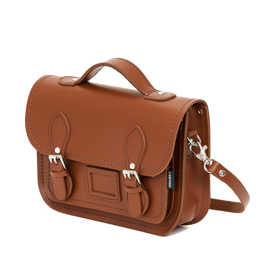 Chestnut Leather Midi Satchel