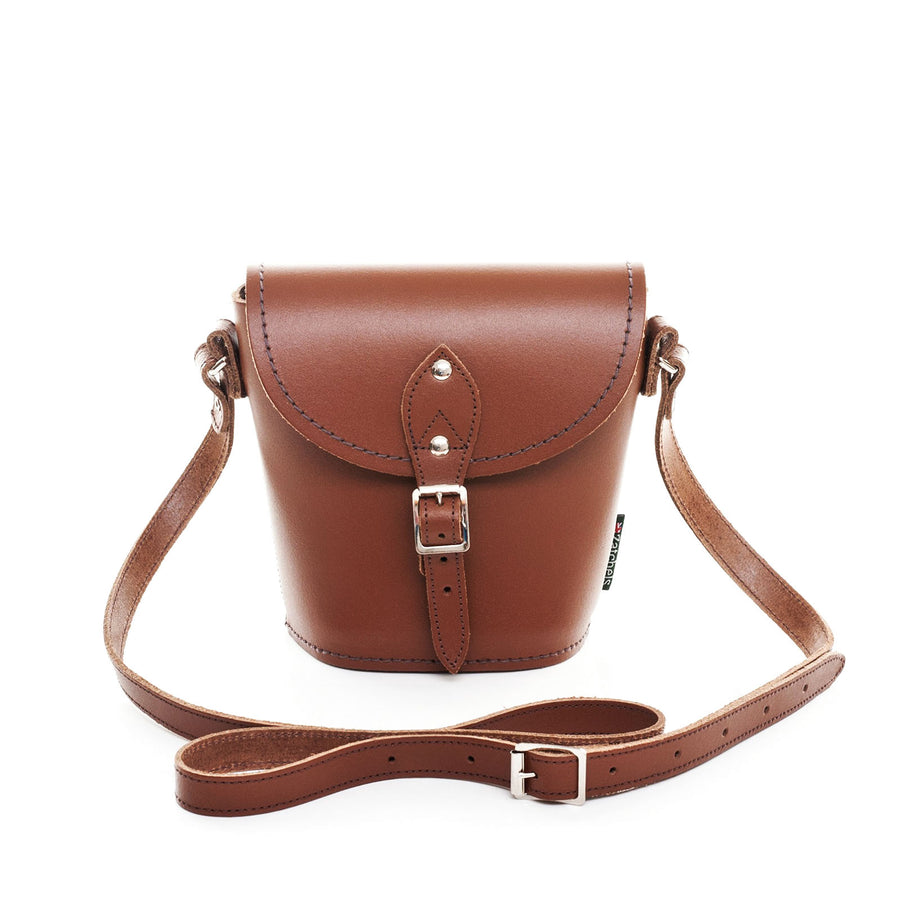 Chestnut Leather Barrel Bag