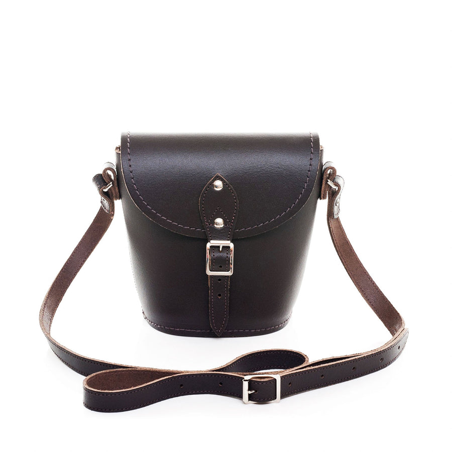 Dark Brown Leather Barrel Bag