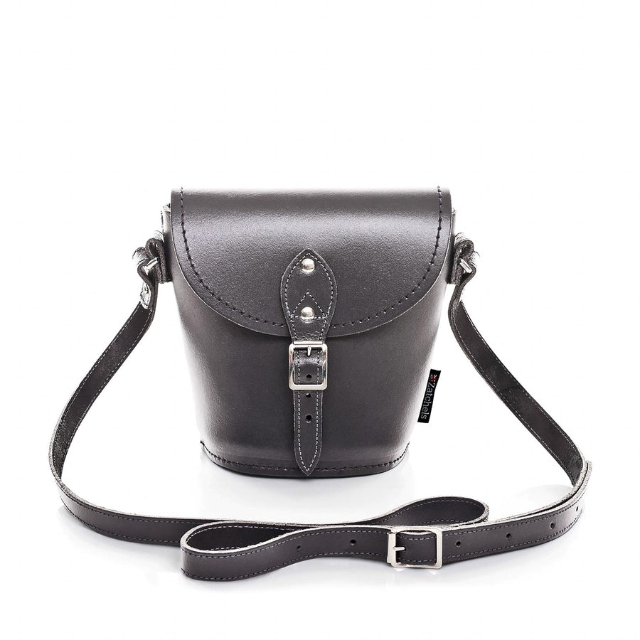 Graphite Leather Barrel Bag