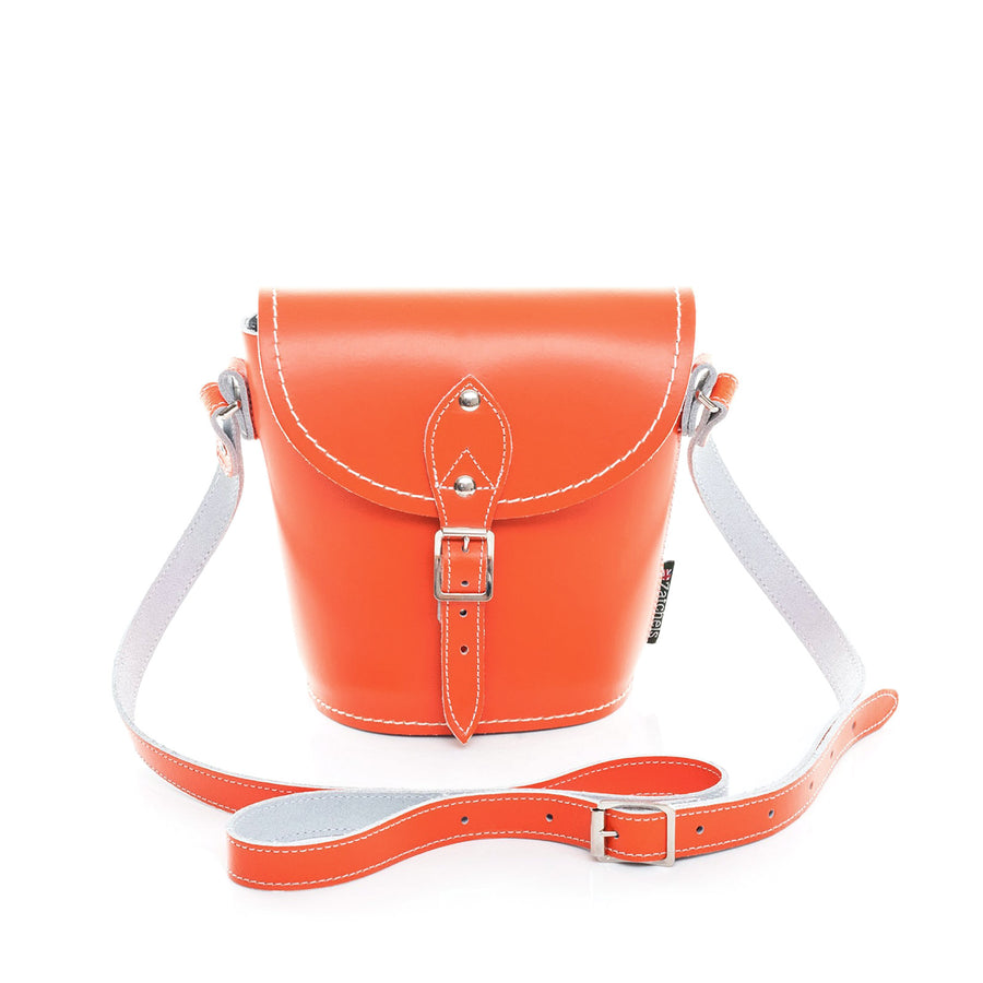 Orange Leather Barrel Bag - Barrel Bag - Zatchels
