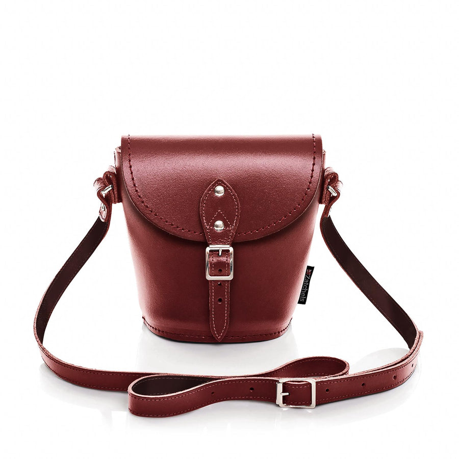 Oxblood Leather Barrel Bag