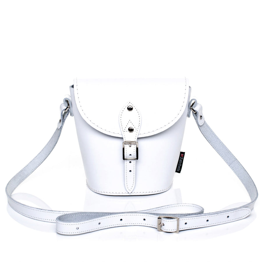 White Leather Barrel Bag - Barrel Bag - Zatchels