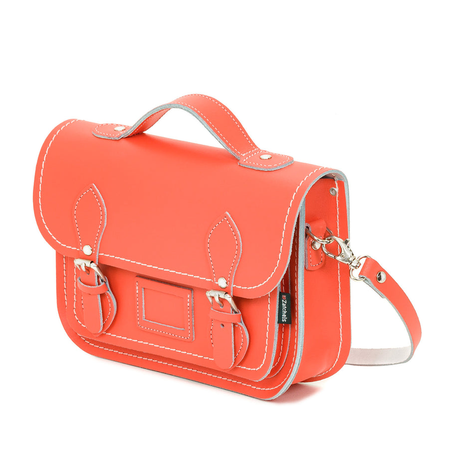 Coral Leather Midi Satchel