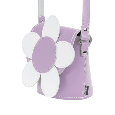 Pastel Violet Daisy Leather Novelty Bag