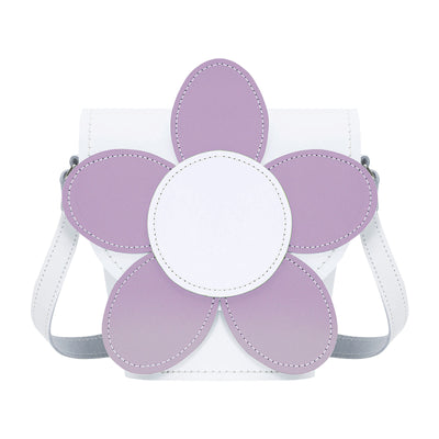 White & Violet Daisy Leather Novelty Bag