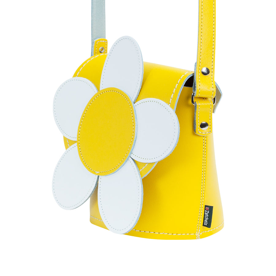 Pastel Yellow Daisy Leather Novelty Bag