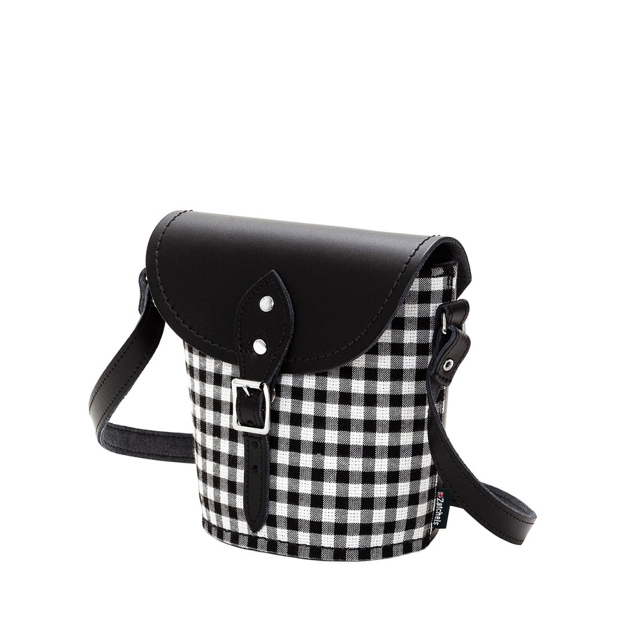 Gingham Leather Barrel Bag