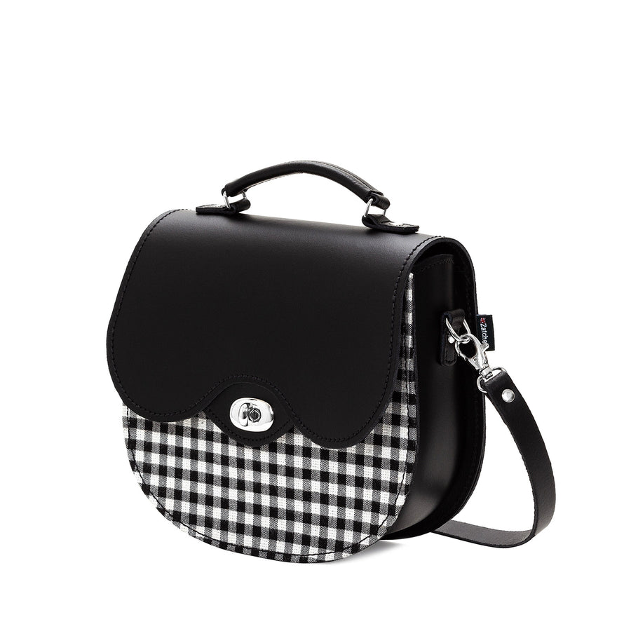 Gingham Leather Saddle Bag