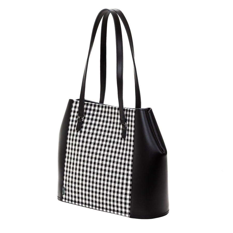 Gingham Leather Tote Bag