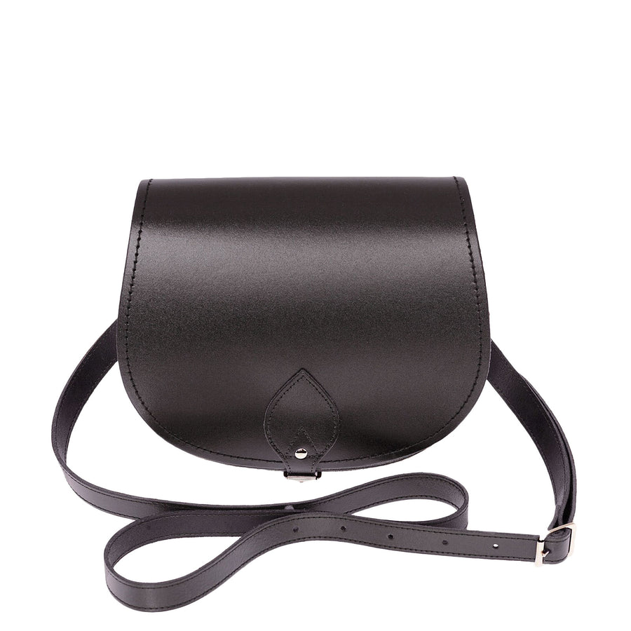 Graphite Leather Saddle Bag