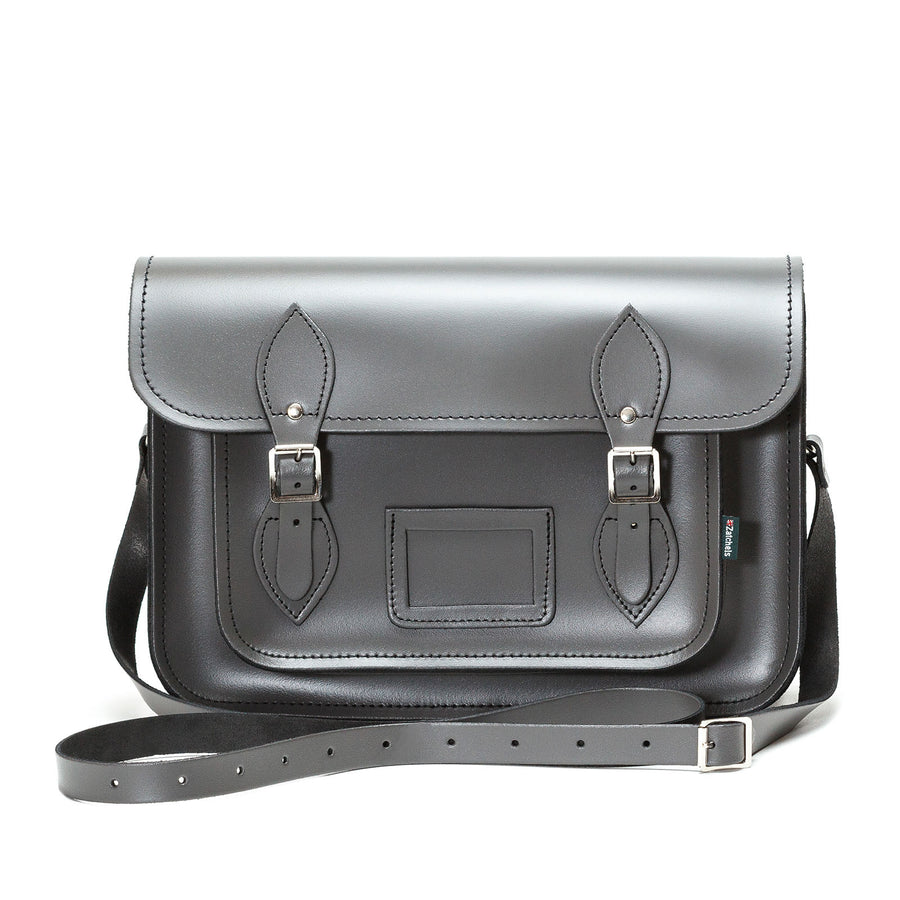 Graphite Leather Satchel