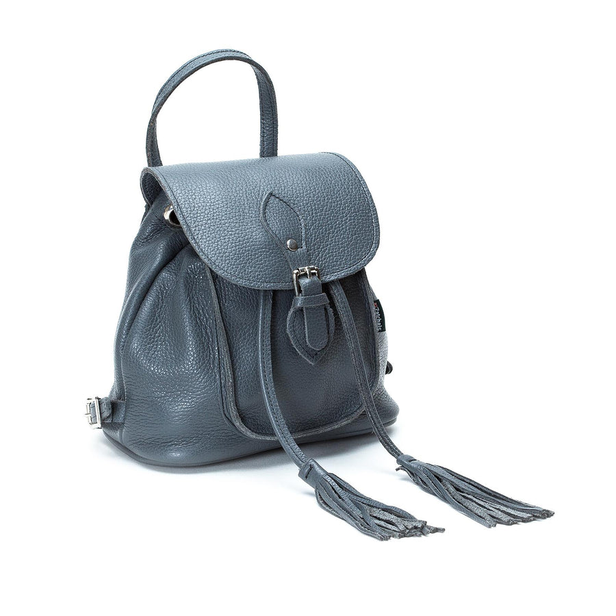 Grey Leather Backpack - Backpack - Zatchels