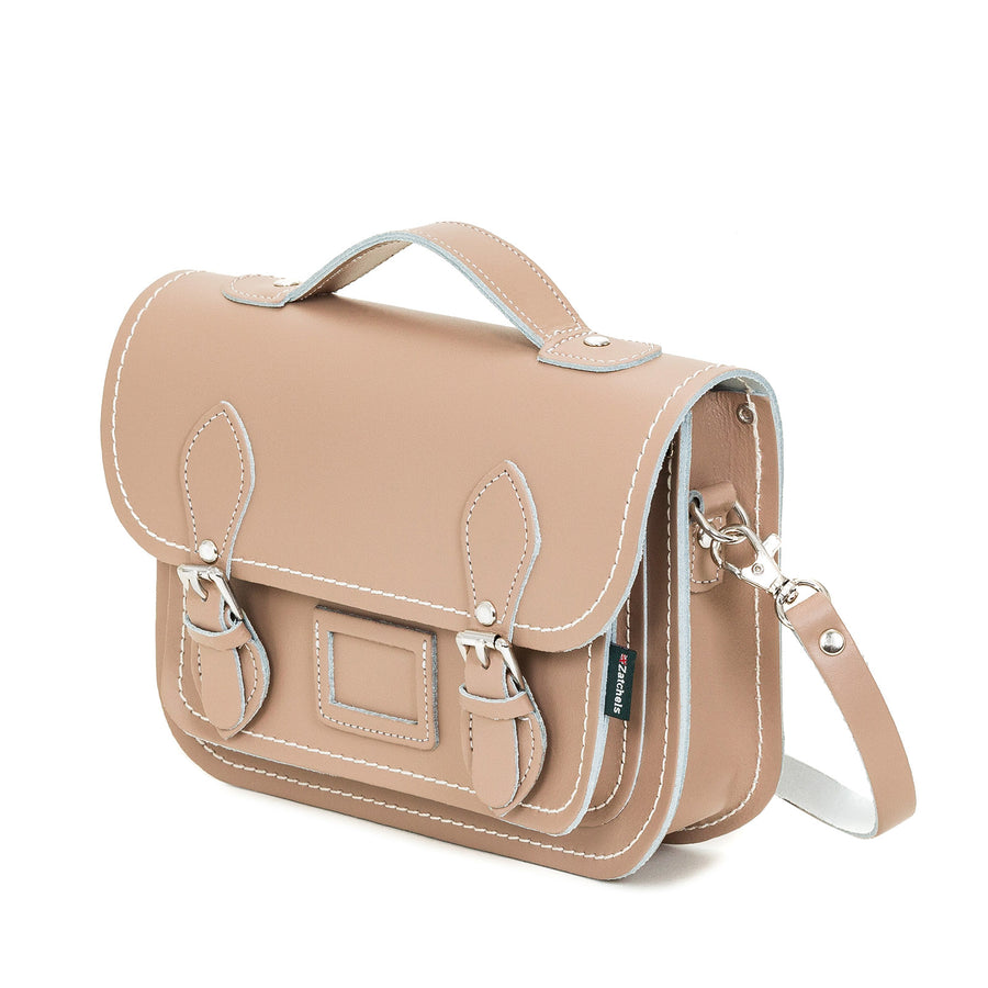 Iced Coffee Leather Midi Satchel